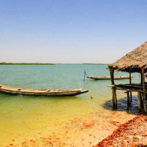 Senegal lake with boats