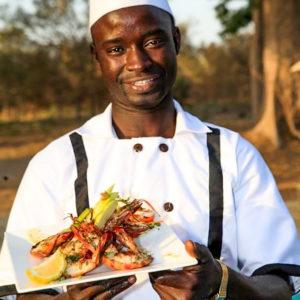 Fathala safari lodge chef prawns