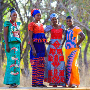 African women in traditional dresses