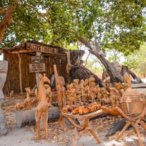 African safari curio shop wooden carving
