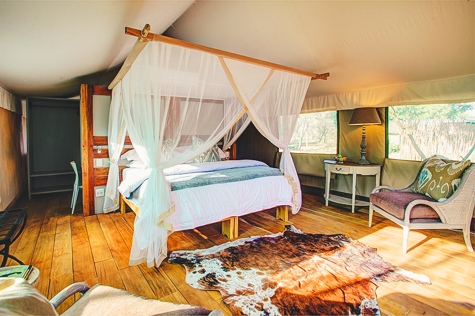 Luxury safari tent bedroom