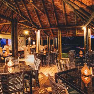 Outdoor restaurant boma at night