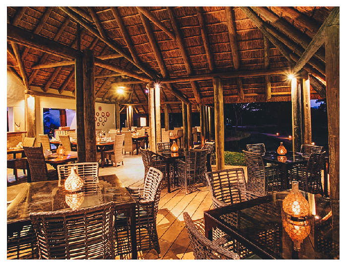 Fathala dining area at night candlelight