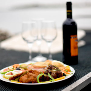 Food and wine on Senegal mangroves boat cruise