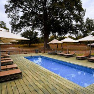 Senegal safari lodge swimming pool deck