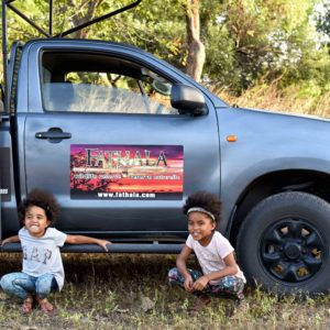 Kids on open vehicle safari drive
