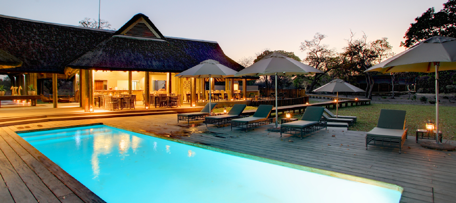 Fathala Lodge Pool Area at Night