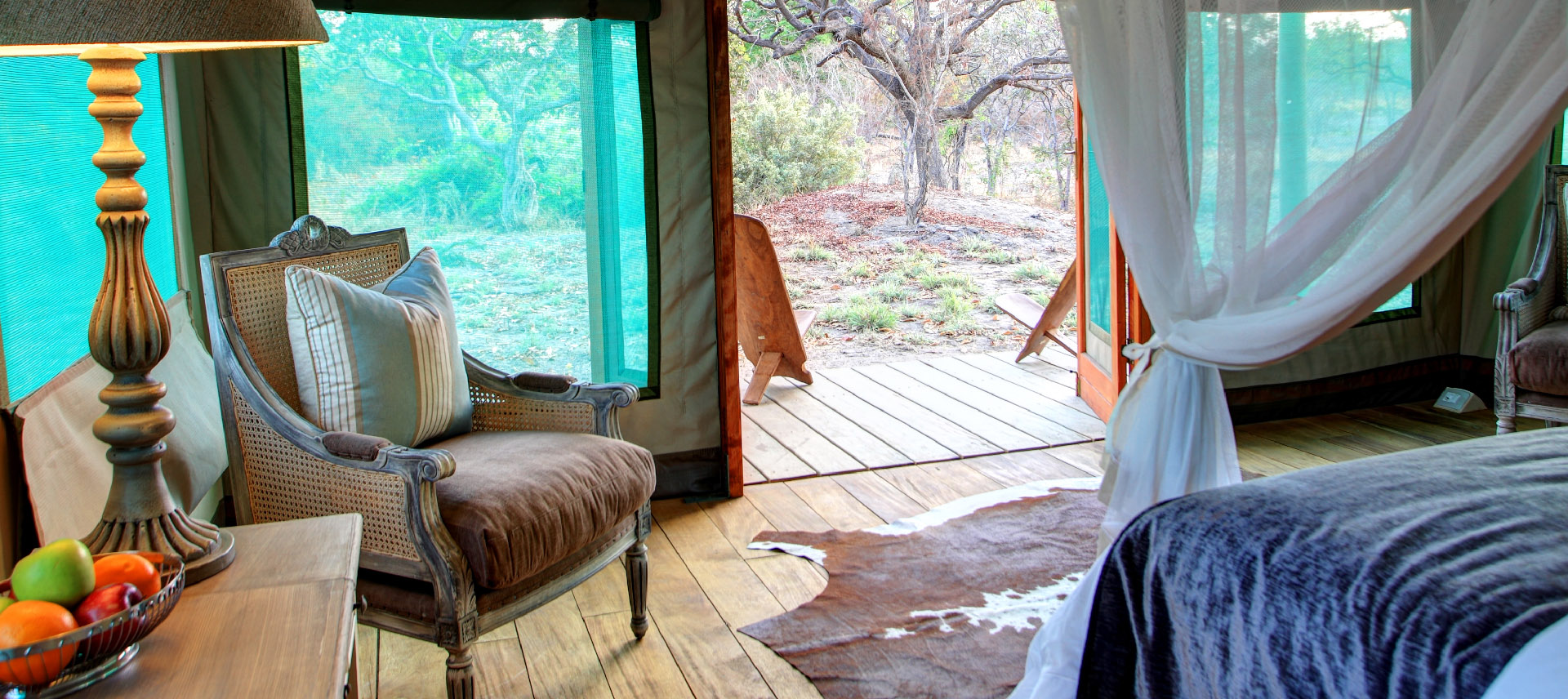 Safari tented lodge bedroom view